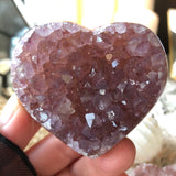 Dreamwork Pink and Lilac Amethyst Heart with Calcite