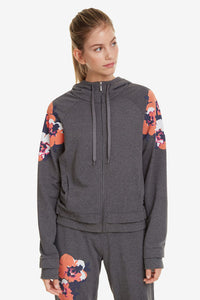 Hoodie with Zipper - Camo Flower
