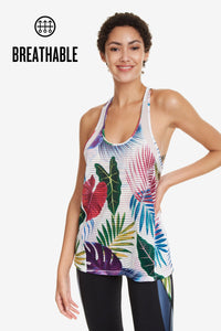 Racerback Top - Floral Bio Patching