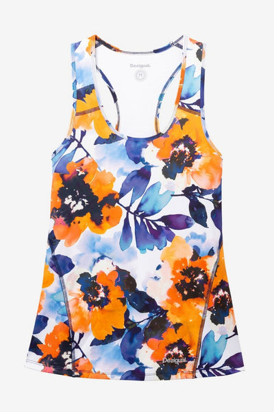 Racerback Top - White Camo Flower