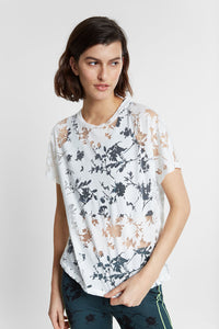 Floral Organic Cotton Devoré T-Shirt - White