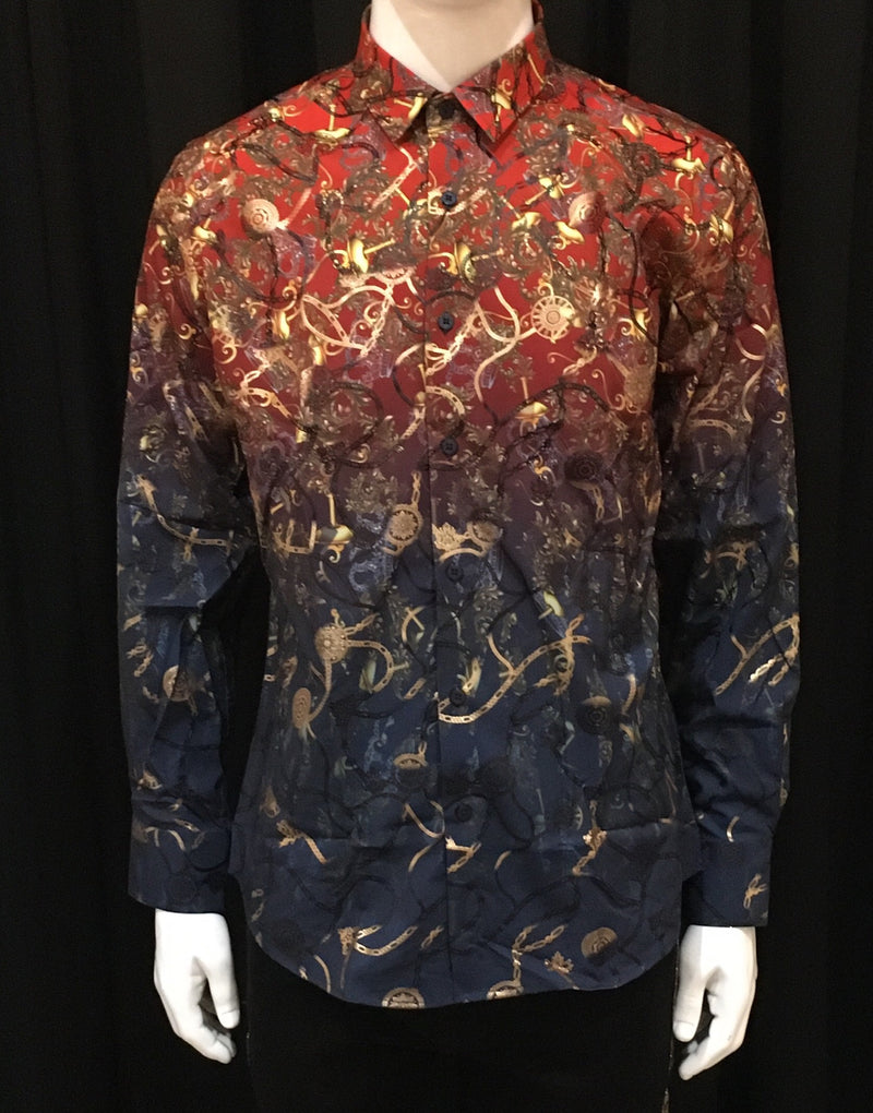 Platini Red-Multi Color Dress Shirt