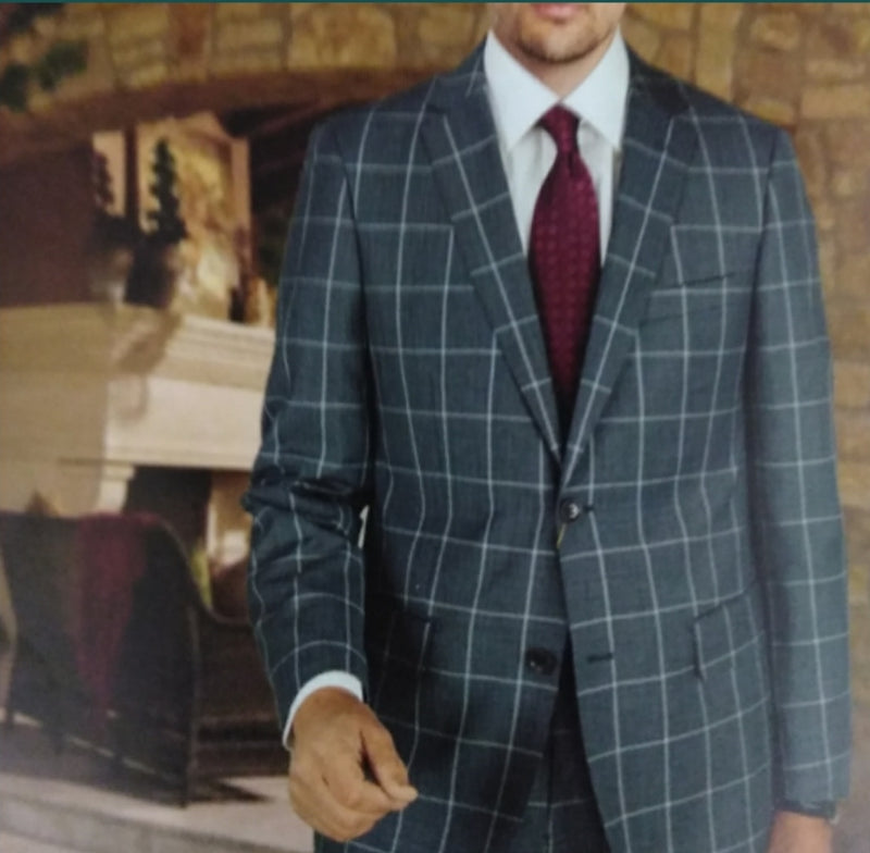 Mantoni Dark Grey Windowpane Suit