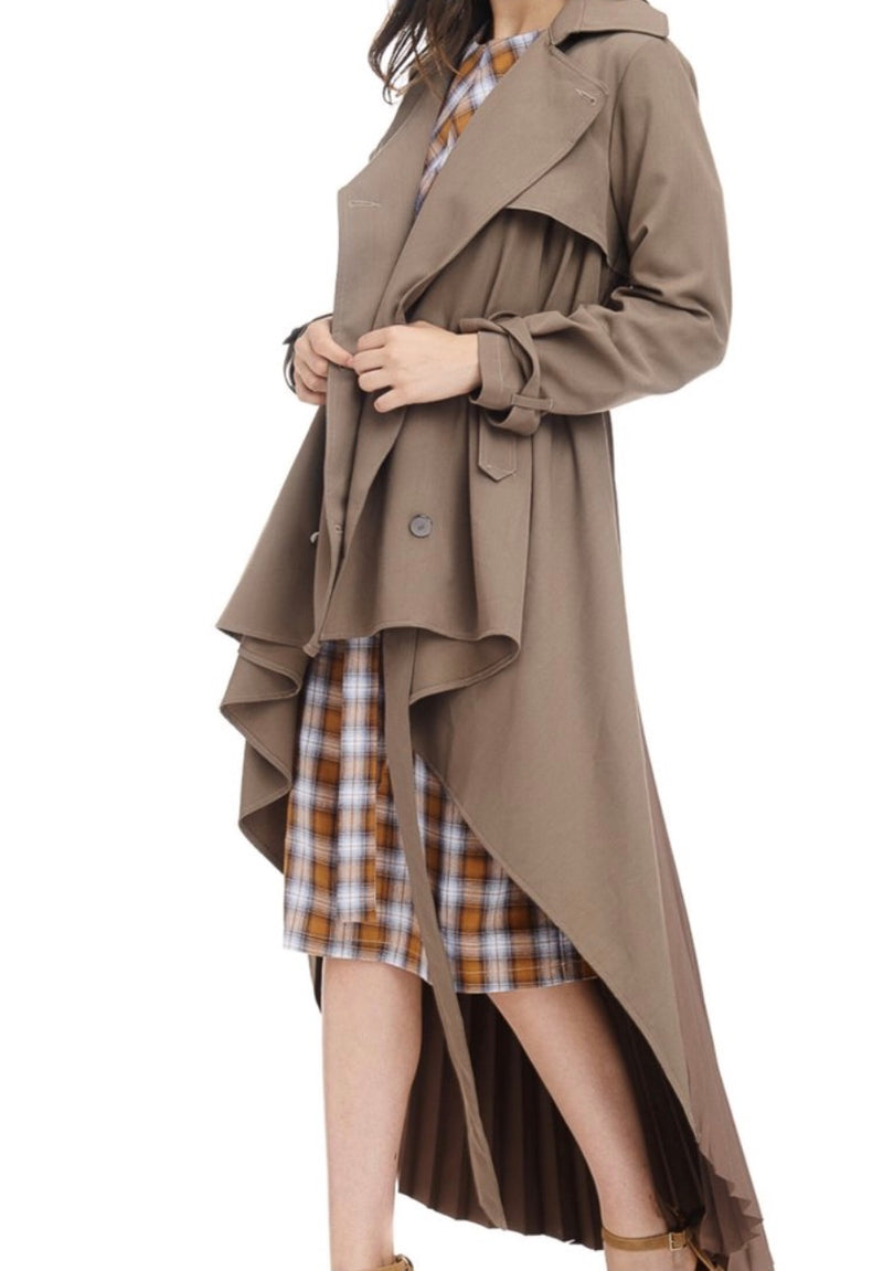 Beige Pleated Trench Coat