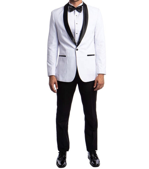 Suslo Couture - White and Black Tuxedo Blazer