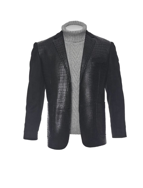 Inserch Black Shiny Alligator Print Blazer