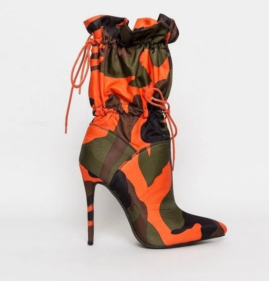 Camo Orange and Green Boot