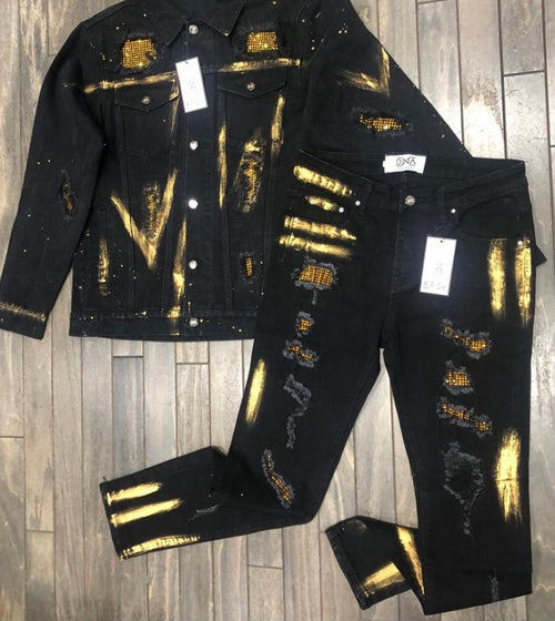 DNA Premium Black/Gold Jean Jacket