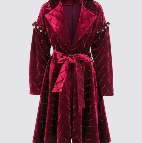 Maroon Velvet Feel Skirted Coat