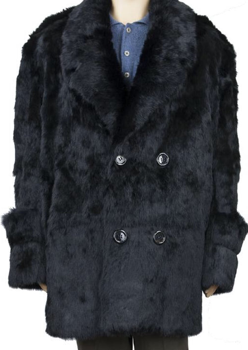 3/4 MEN'S RABBIT FUR COAT (BLACK)