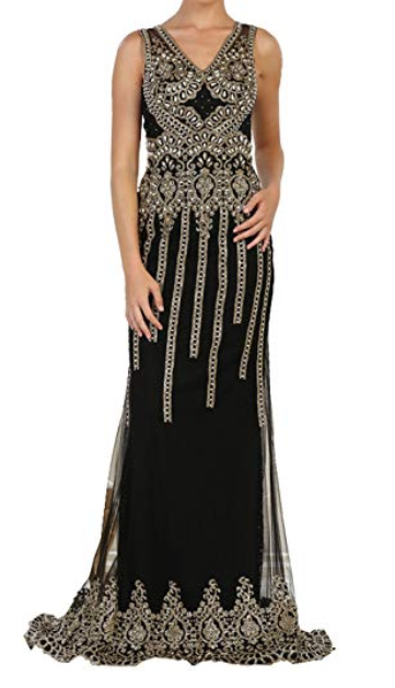 Black And Gold Beauty Evening Gown