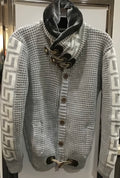 Men Shawl Neck Sweater w/Faux Fur