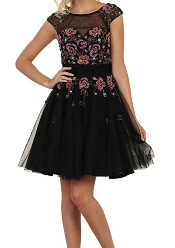 Black Rainbow Tutu Dress