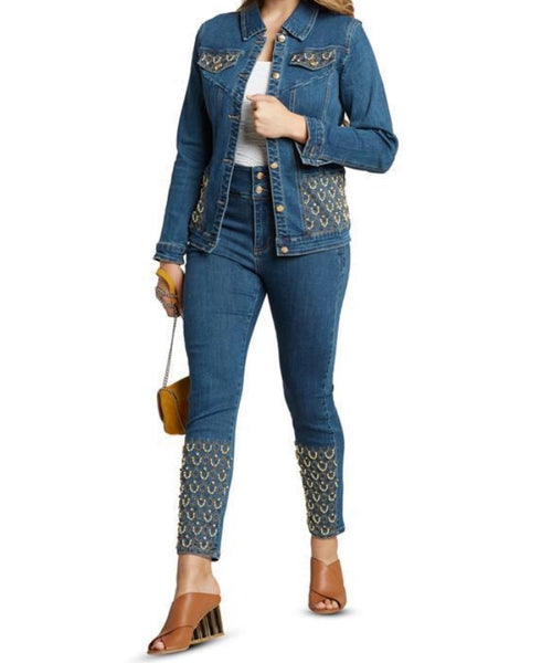 Tes Embroidered Jean Set
