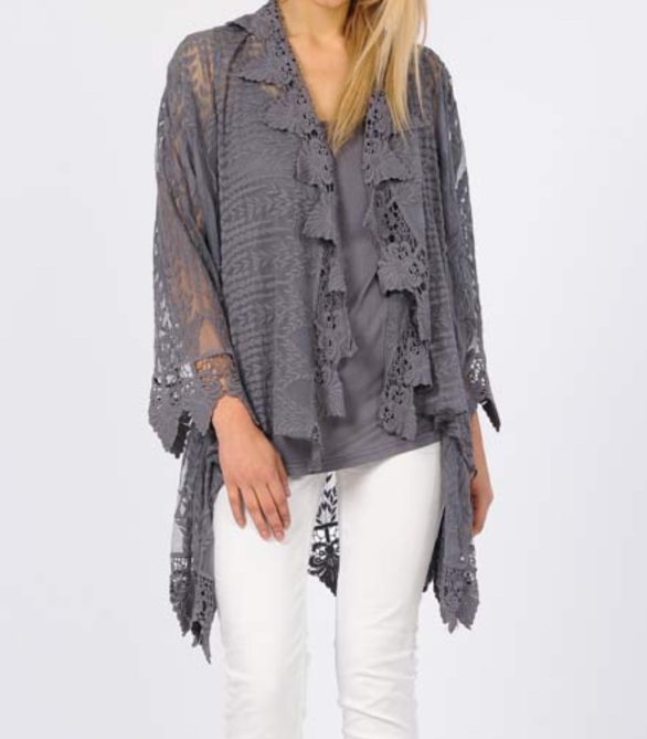 Lovely Lace Duster Set - Charcoal Grey