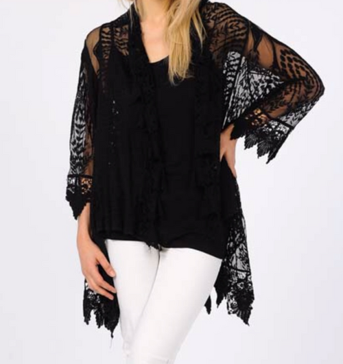 Lovely Lace Duster Set - Black