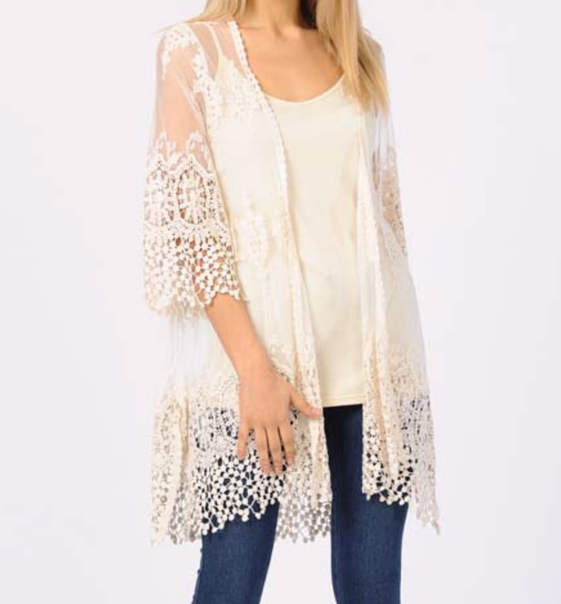 Lovely Lace Duster Set - Natural