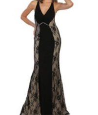 Nude Lace Halter Evening Gown - Asst. Colors