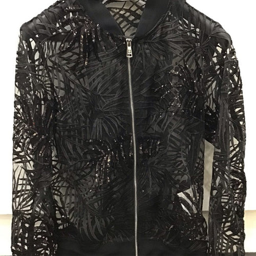 Giovanni T. Black Sequins Bomber Jacket