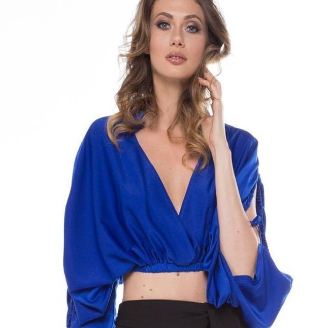 Royal V-Neck Elastic Banded Crop Top
