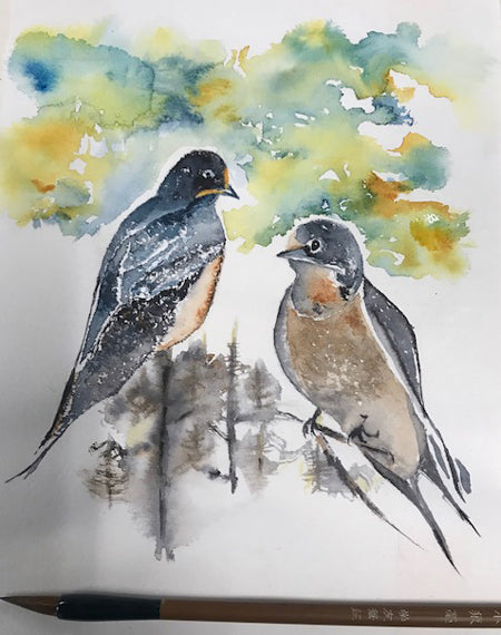 Barn Swallows – Chinese Brush Technique