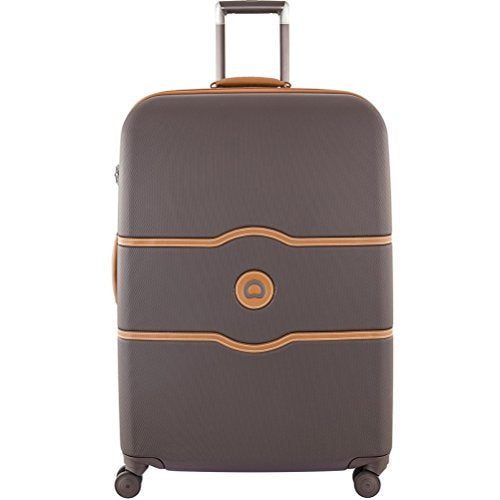 Delsey Luggage Chatelet Hard+, Large Checked Luggage, Hard Case Spinner Suitcase, Chocolate Brown