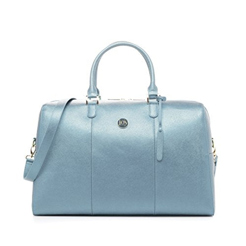 Joy Mangano Women's Jm Metallic Leather Weekender Steel Blue Bag, One Size