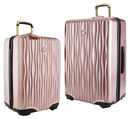 oy Mangano Hardside Medium Luggage (Carry-on) and Xl Luggage Combo, Rose Quartz