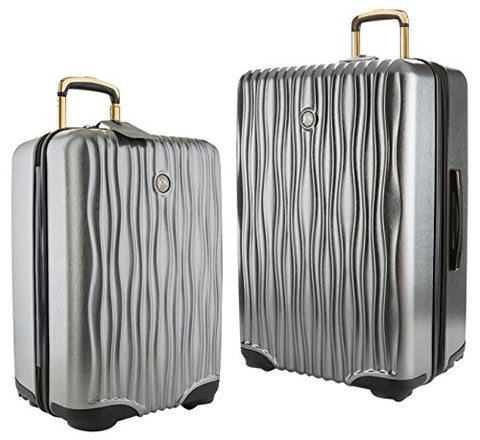 Joy Mangano Hardside Medium Luggage (Carry-on) and Xl Luggage Combo, Platinum