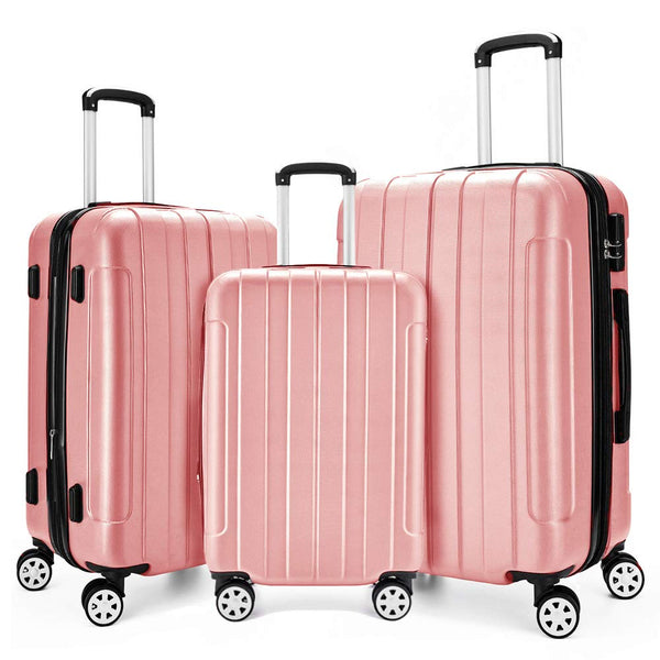 Fochier 3 Piece Luggage Set - Rose Gold