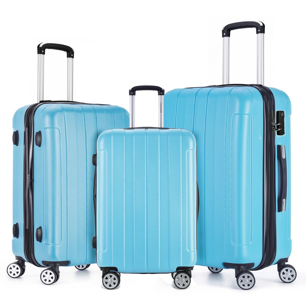 Fochier 3 Piece Luggage Set - Sky Blue