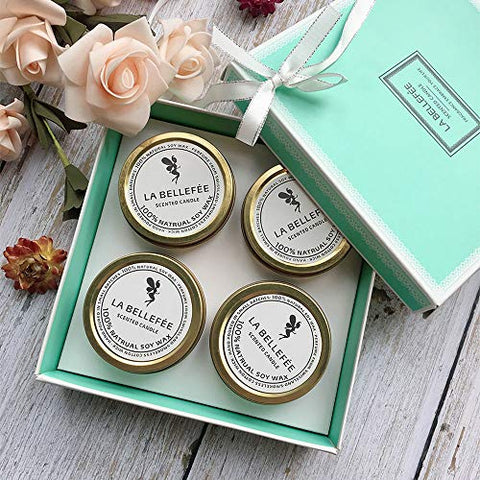 LABELLEFEE Scented Travel Tin Candles - Lemongrass Bergamot, Sea Salt Sage, French Lavender Vanilla, Mediterranean Amber - 4 Pack