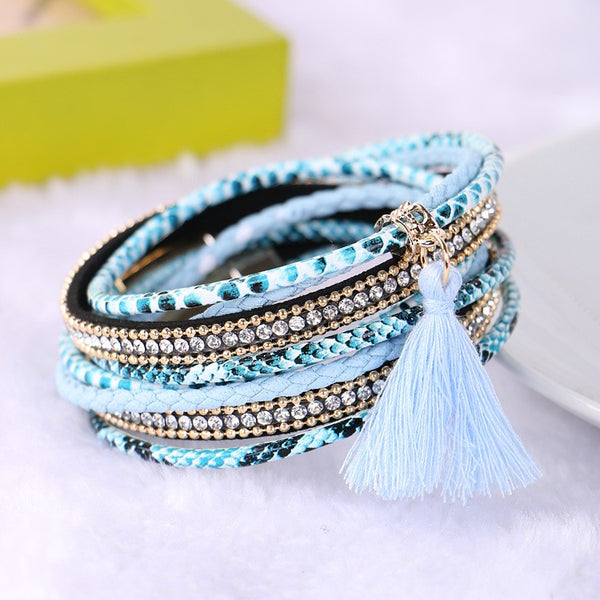 Beach Blue Boho Bangle Bracelet Gold Turquoise Tassel