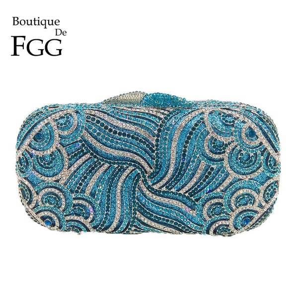 Turquoise Waters Crystal Evening Clutch