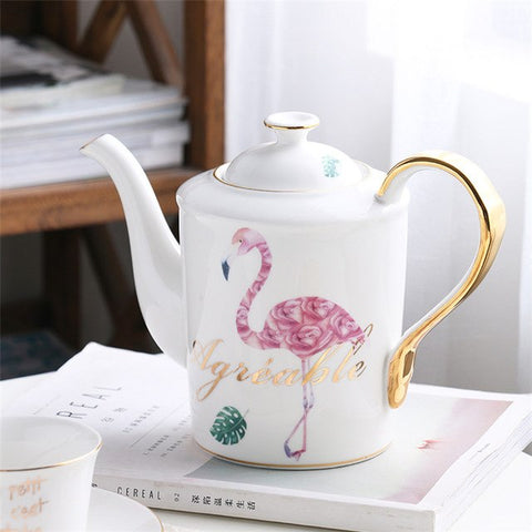 Elegant Flamingo Porcelain Tea Set