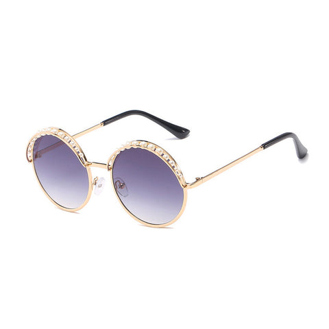 Ladies Round Sunglasses with Pearl Accents