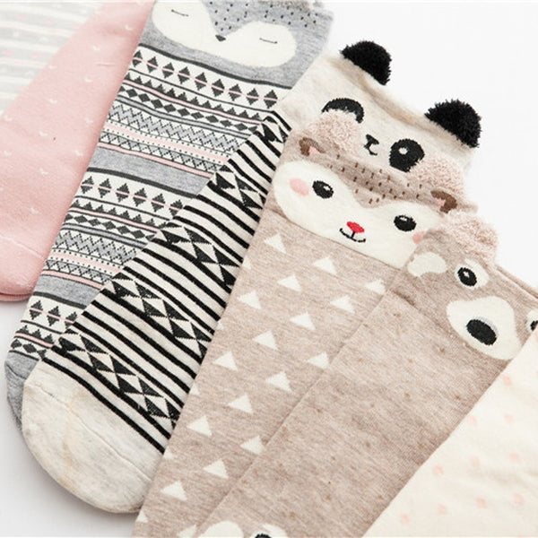 Ladies Cute Animal Cotton Socks