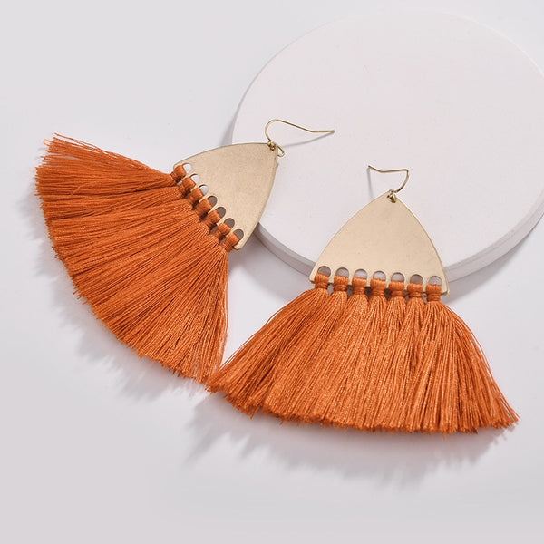 Fairmont Fringe Tassel Earrings - Orange