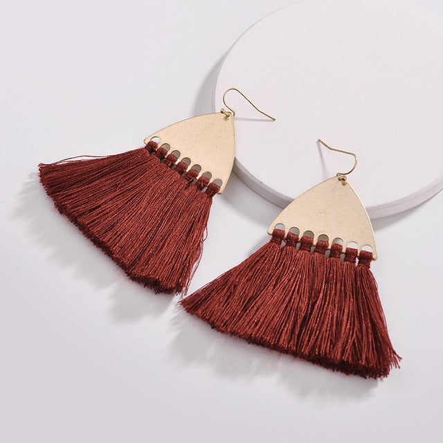 Fairmont Fringe Tassel Earrings - Burgundy