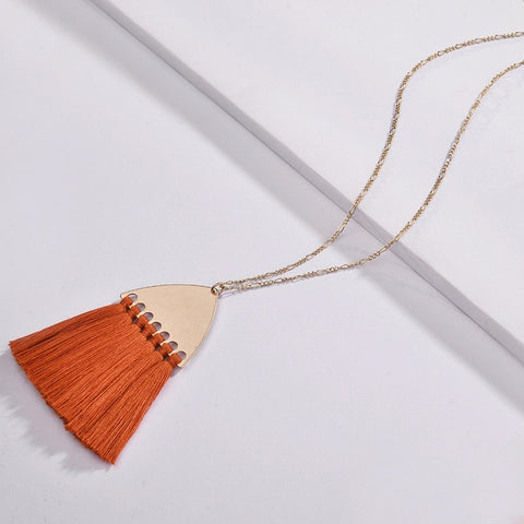 Fairmont Fringe Tassel Necklace - Orange