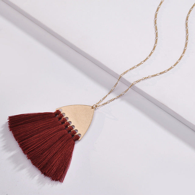 Fairmont Fringe Tassel Necklace - Burgundy