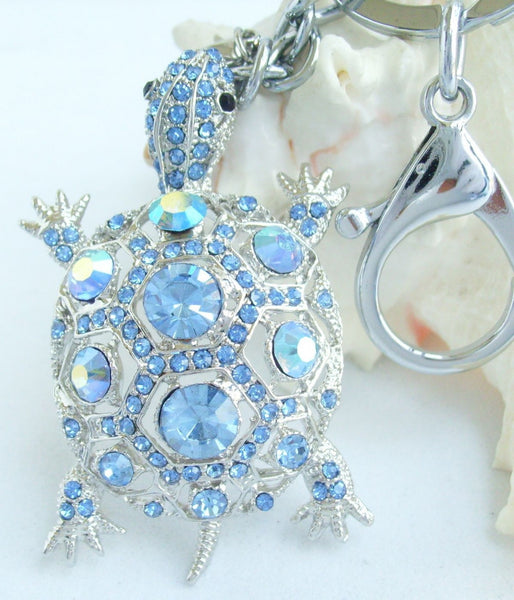 Blue Rhinestone Sea Turtle Keychain
