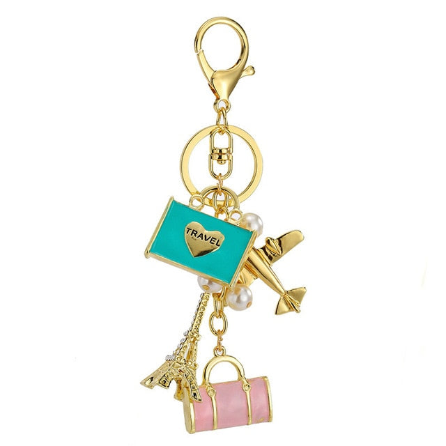 I Love Travel Crystal Keychain