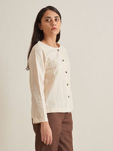 White Collarless Textured Shirt - Kala Cotton