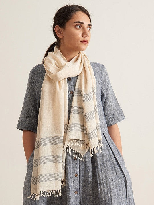 Minimal Striped Handloom Scarf - Kala Cotton