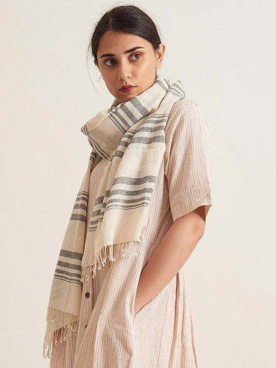 Black and Off White Minimal Scarf - Kala Cotton