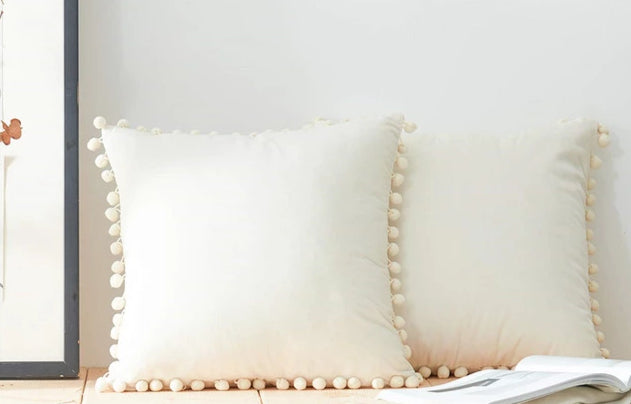 Felicity Series - Soft Velvet Pom Pom Pillow Cover - White