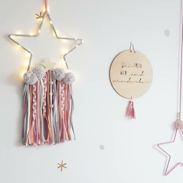 Leila Star Wall Decoration with Pom Poms and Tassels