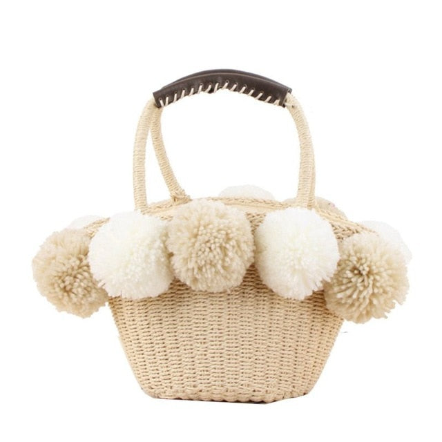 Penelope Straw Bag with Pom Poms