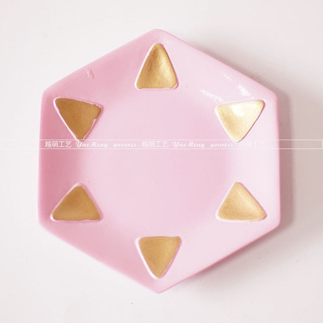 Rose Jewelry Tray Series - Pink with Gold Triangles